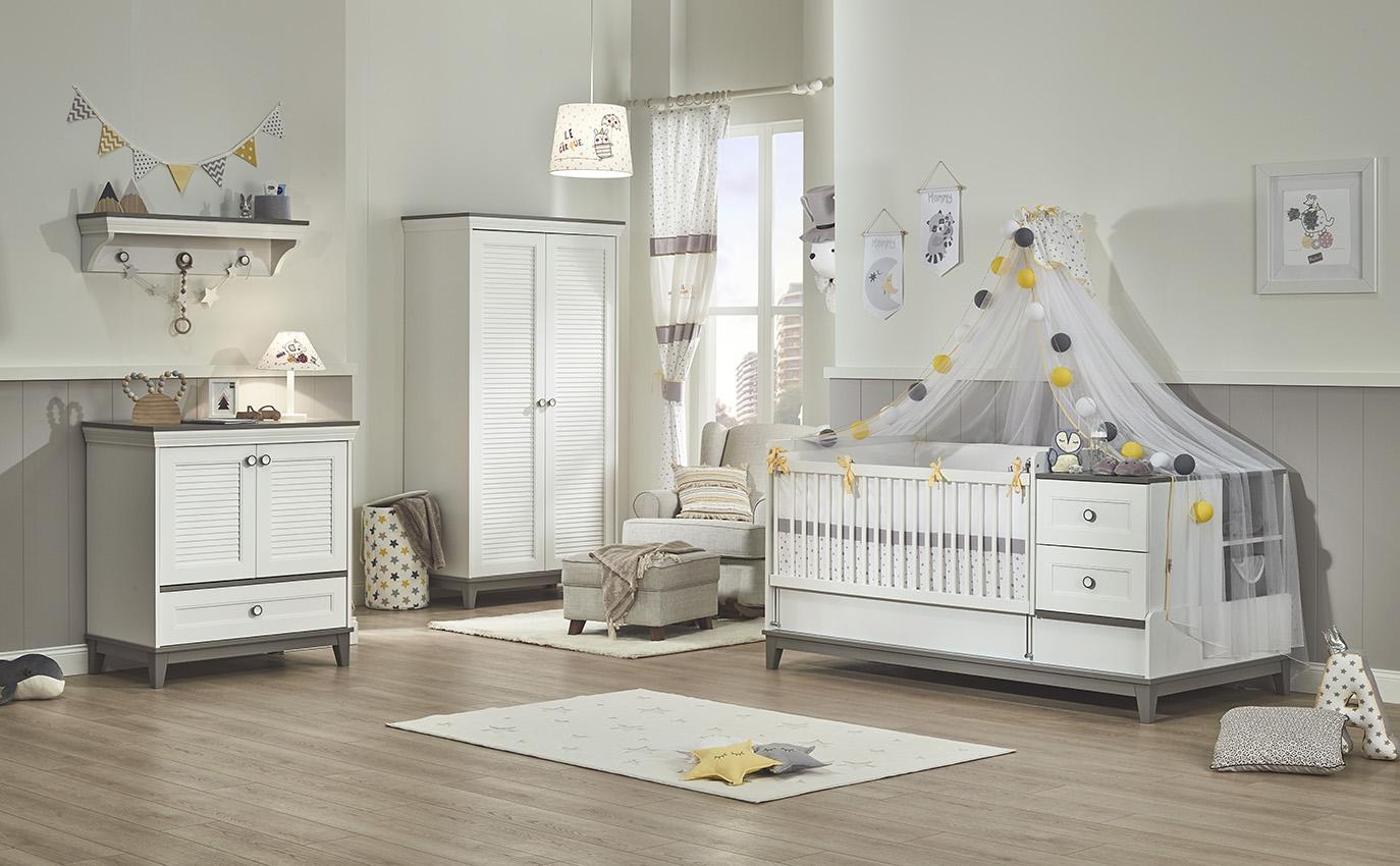 Almila Babyzimmer Set Mia mit erweiterbarem Bett