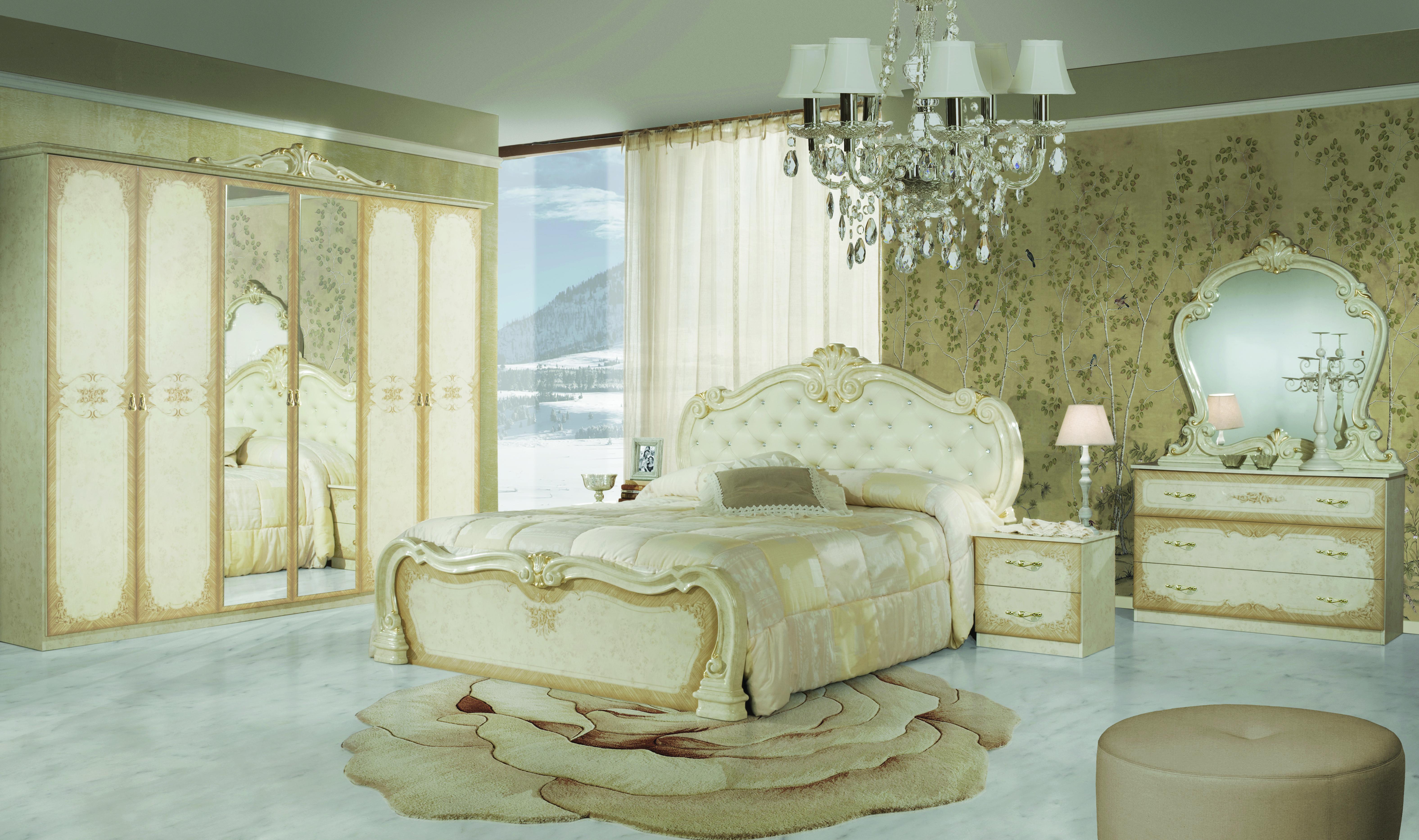 Schlafzimmer Serie Creme Tuja mit 4-türigem Schrank
