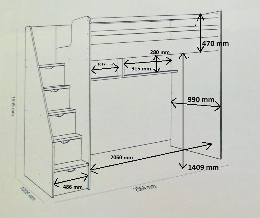Almila Jugendzimmer Neo mit 2 Schlafplätze in Grau