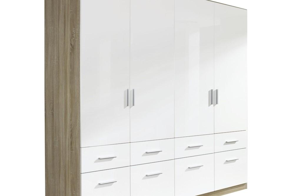 Drehtür-Kombischrank CELLE weiß / Eiche Sonoma 181 x 197 x 54 cm