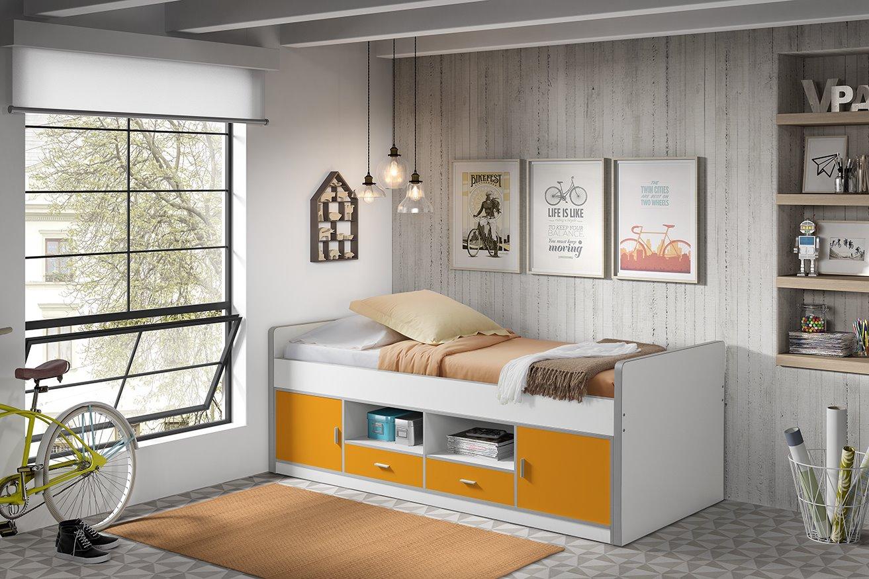 Kinder Kojenbett mit Stauraum Bonny 90x200 Orange
