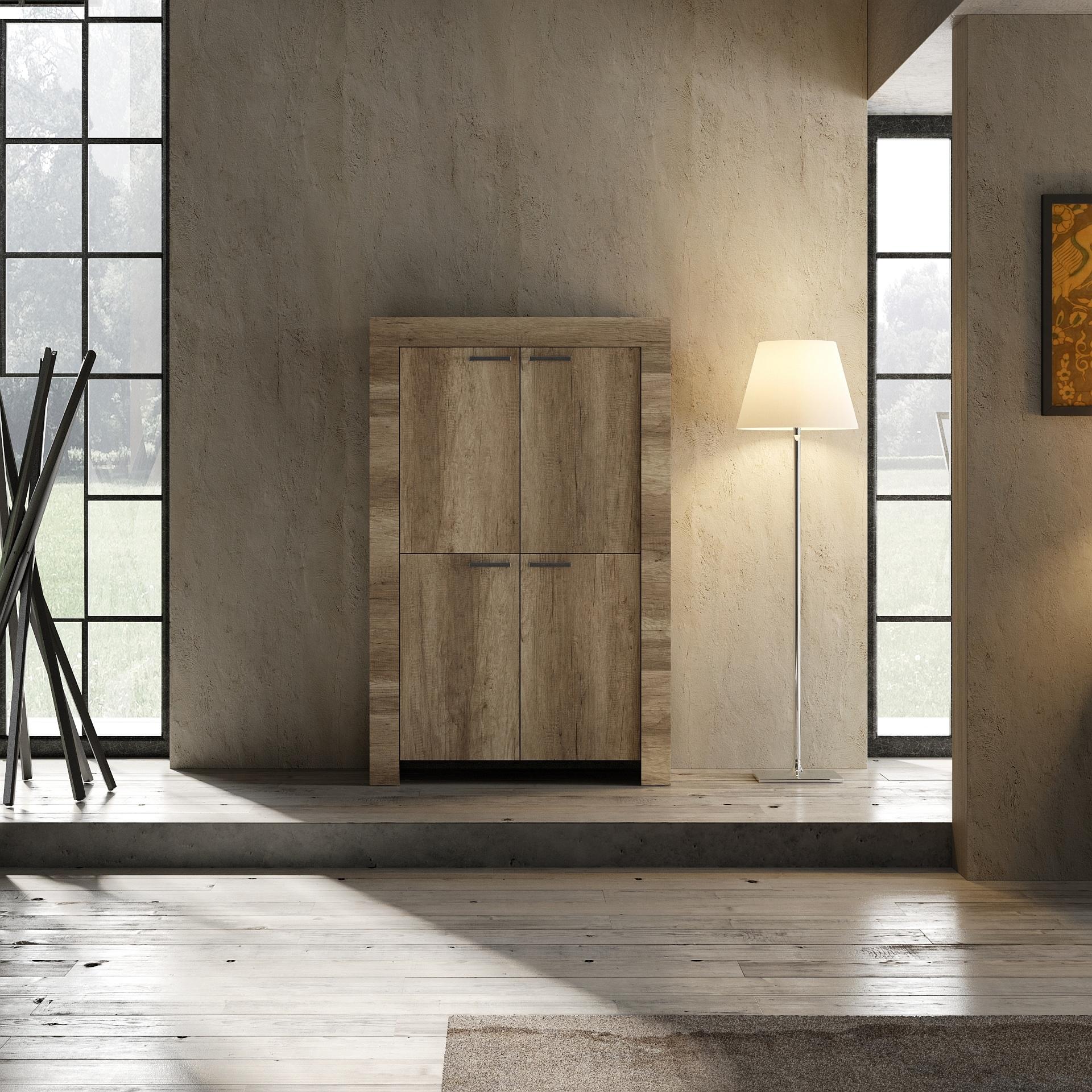 Italien Design Highboard in Canyon Oak Grace 4-türig