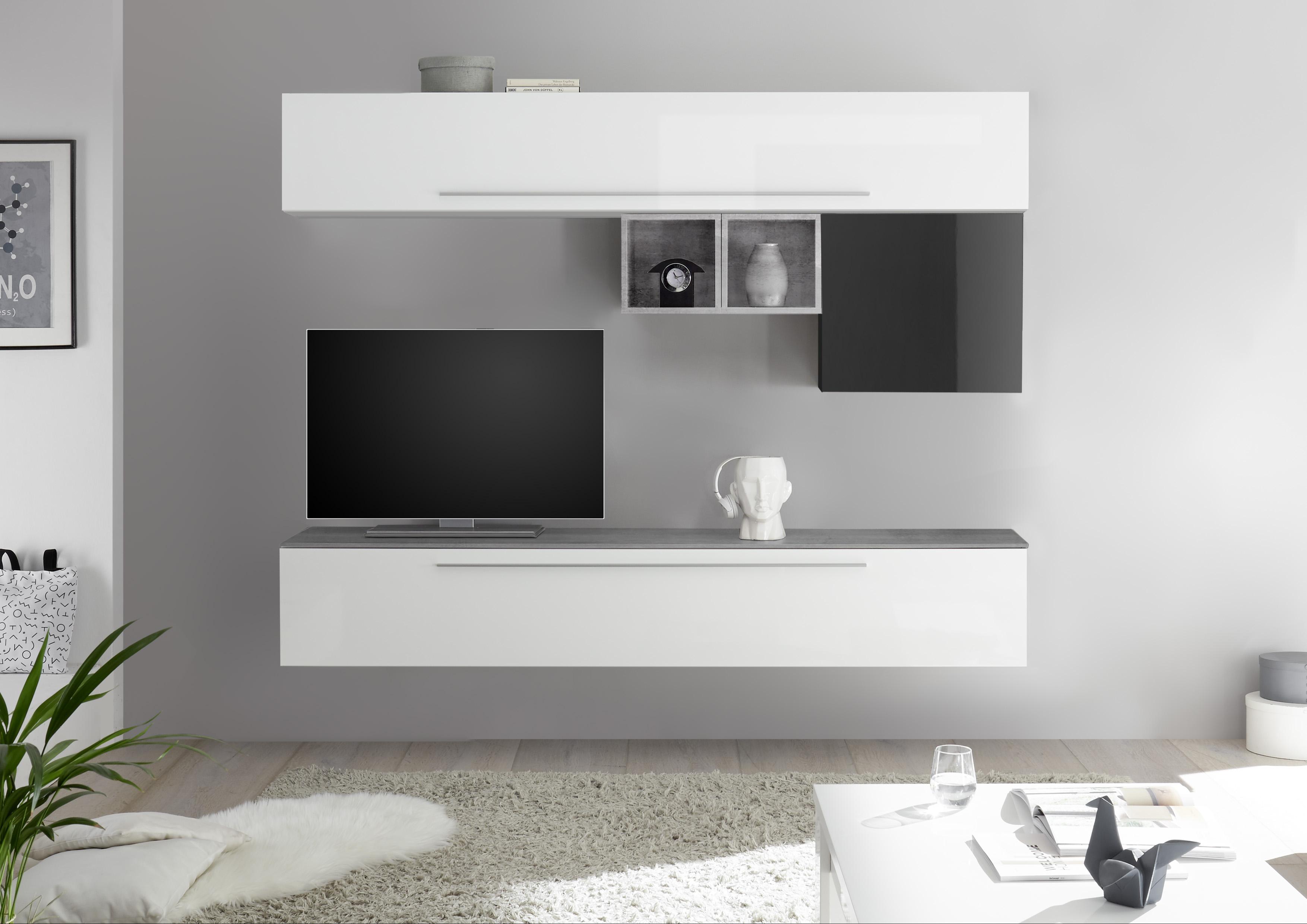 Wohnwand Kombination Veldig 6-teilig in Weiß Grau
