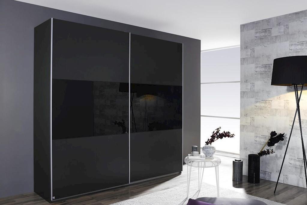 Schwebetürenschrank LORIGA Breite 261 cm grau-metallic / schwarz