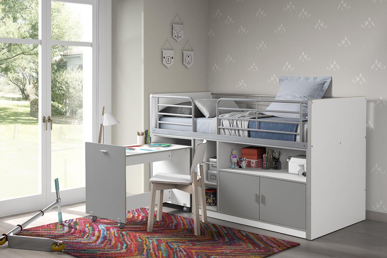 Bonny Hochbett 90x200 mit Schreibtisch Silbergrau