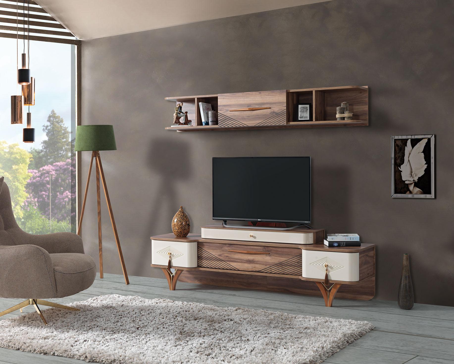 Lidya TV Wand Panama mit Lowboard & Wandregal