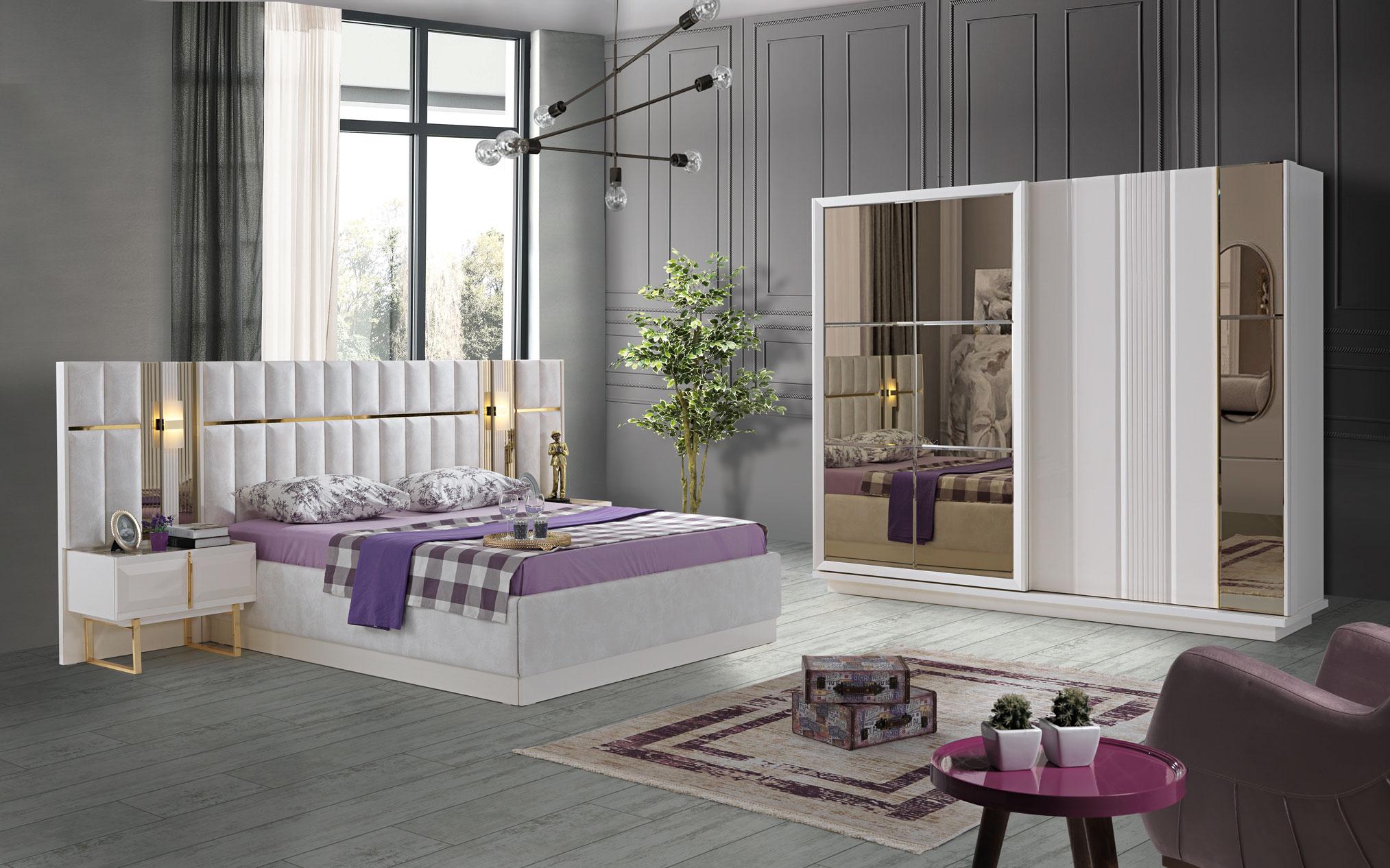 Lidya Schlafzimmer Set Pianno mit Bett in 160x200 cm