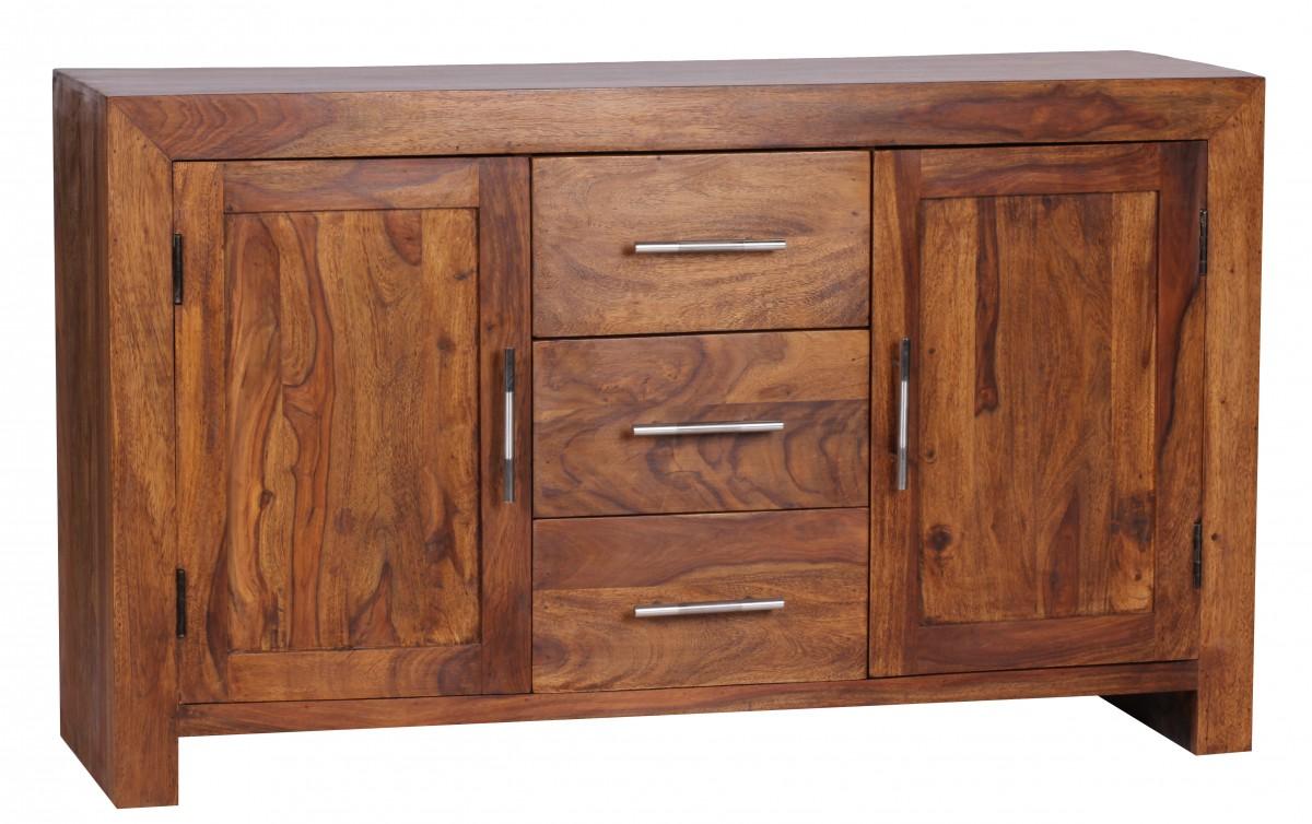 Sheesham Massiv Sideboard 118,5 x 40 cm montiert - Massivholz
