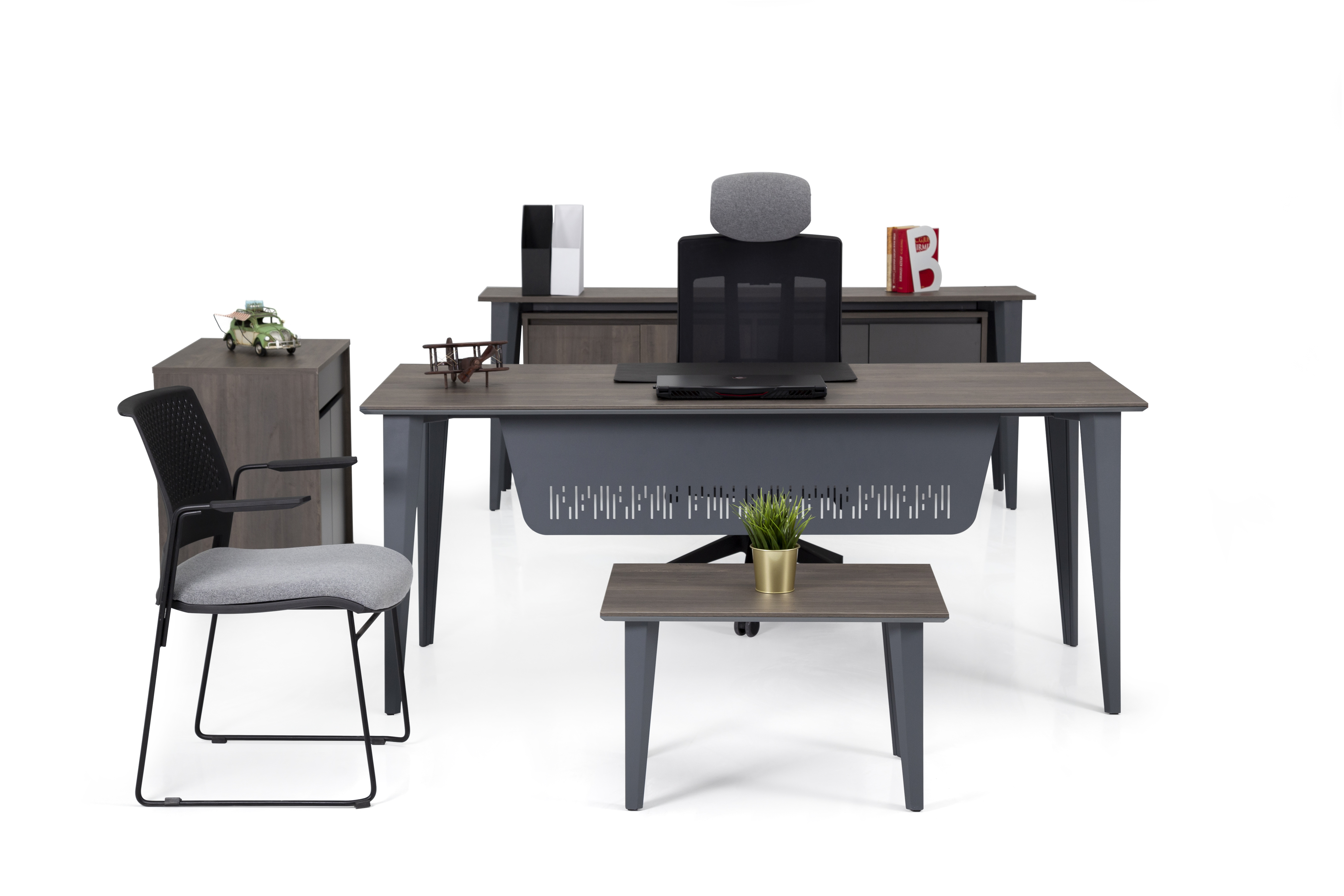 Ovali Büromöbel komplett 4-teilig Iconlux 200x80 cm