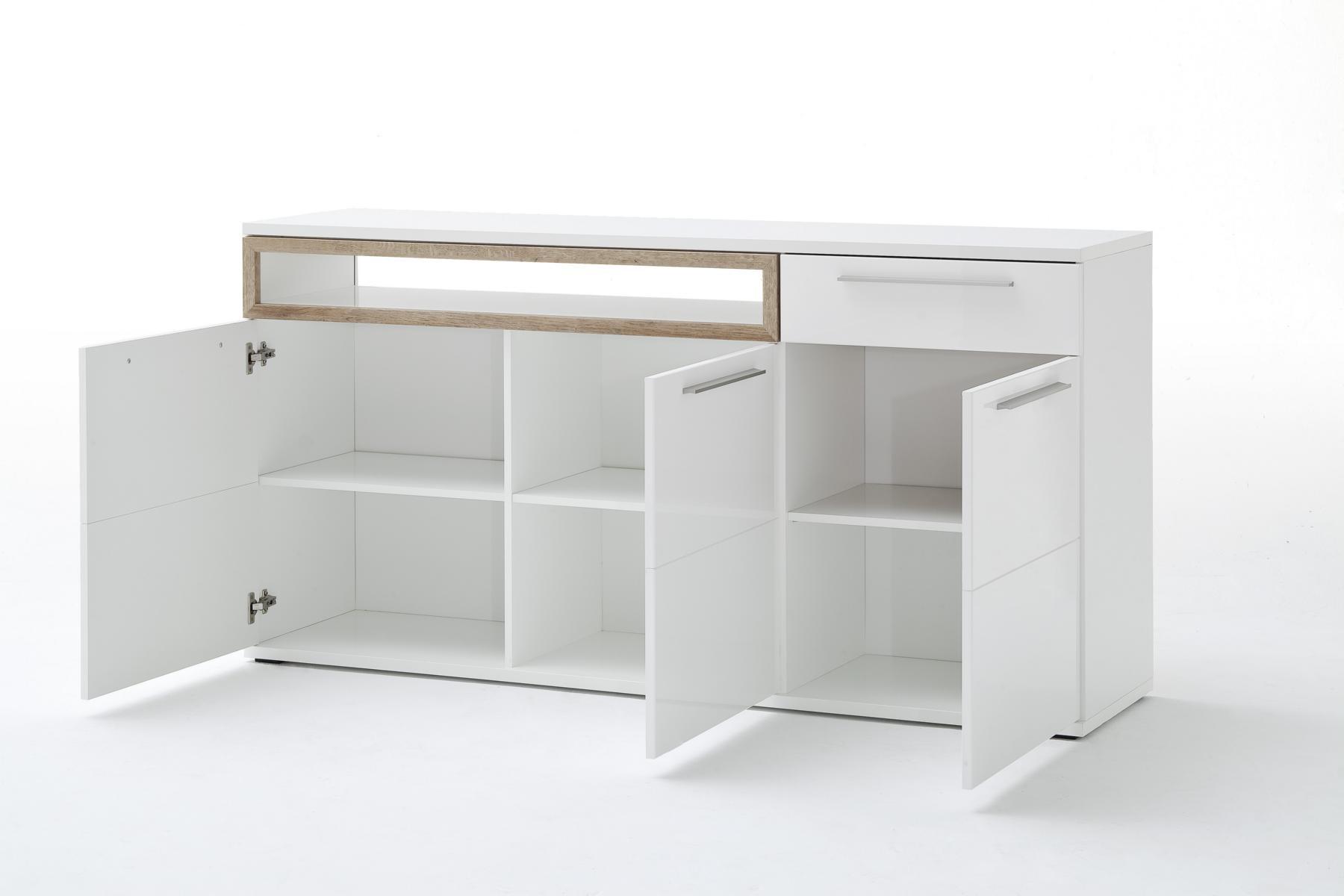 Pala Sideboard mit 3 Türen Weiß mit Riviera Eiche