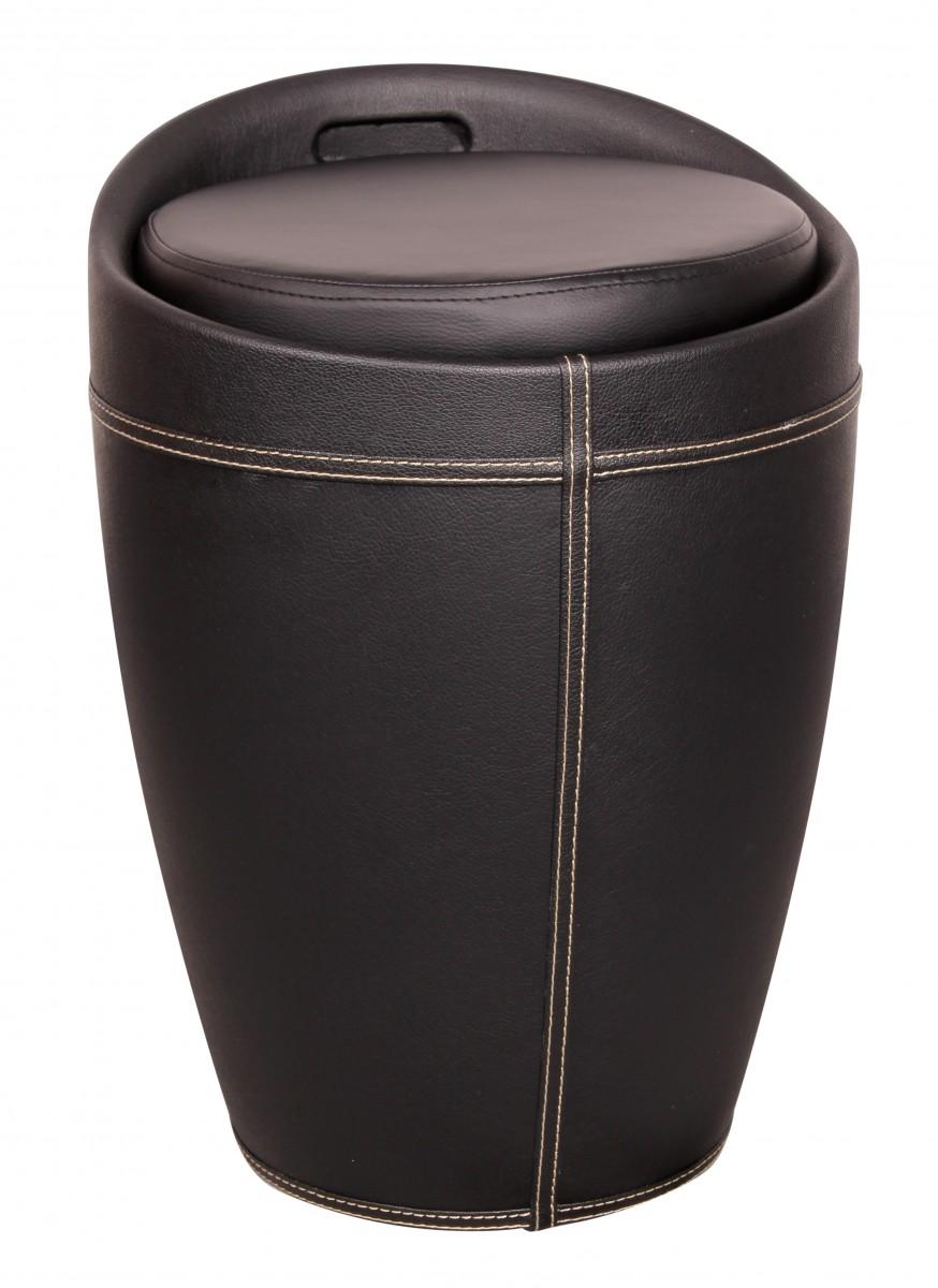 Lucy Wäschebehälter Wäschekorb, Hocker mit Funktion, Badhocker Leder Optik schwarz