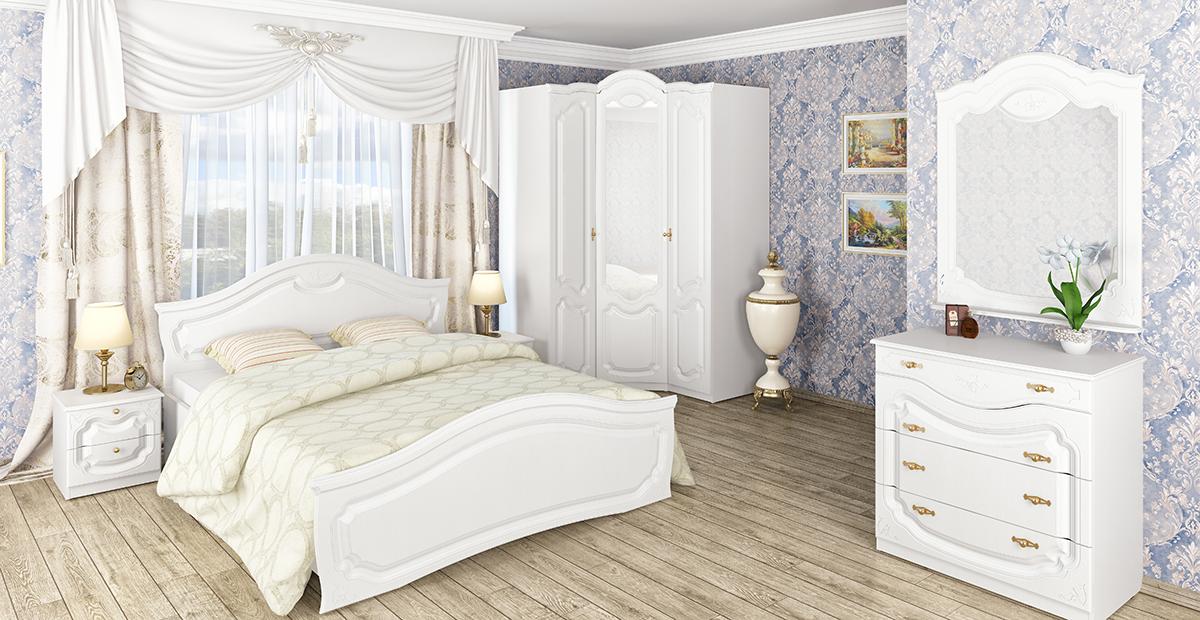Orchidea Kleiderschrank Weiß Seidenmatt mit 3 Türen