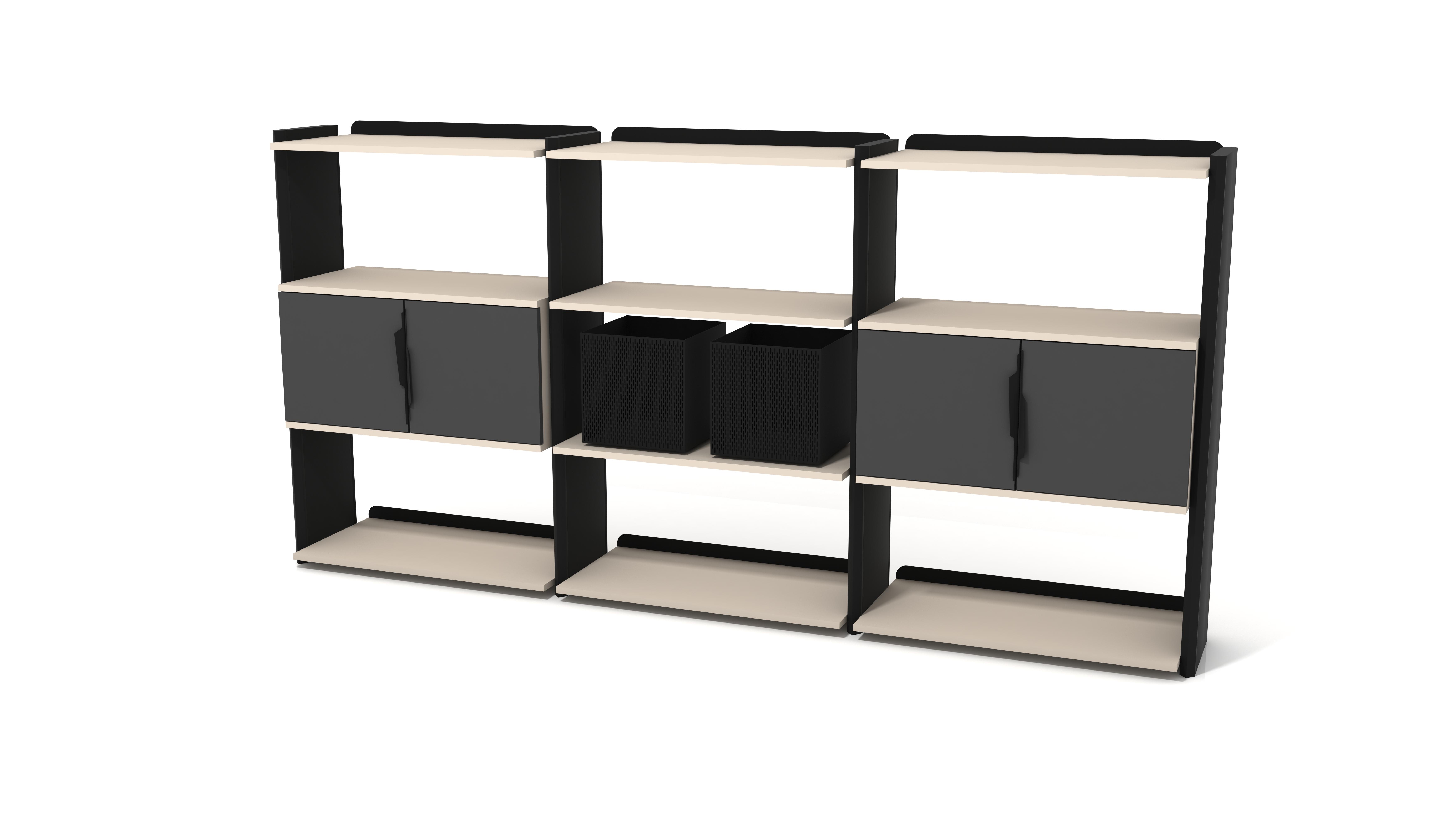 Ovali Bücherregal 9-Fächer Prime Schwarz Creme