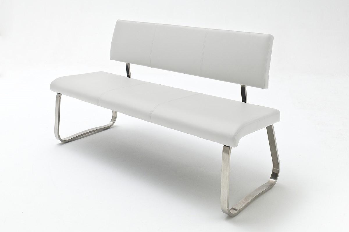 Sitzbank Menni Edelstahl Weiß Kunstleder 155