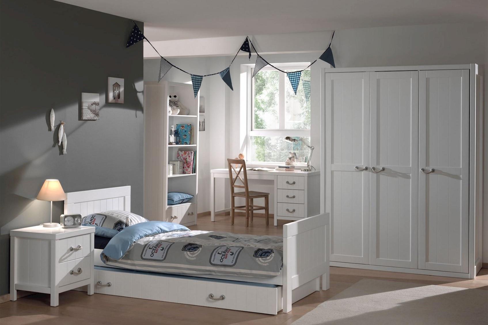 Jugendzimmer komplett Set Iny 6-teilig in Weiß MDF