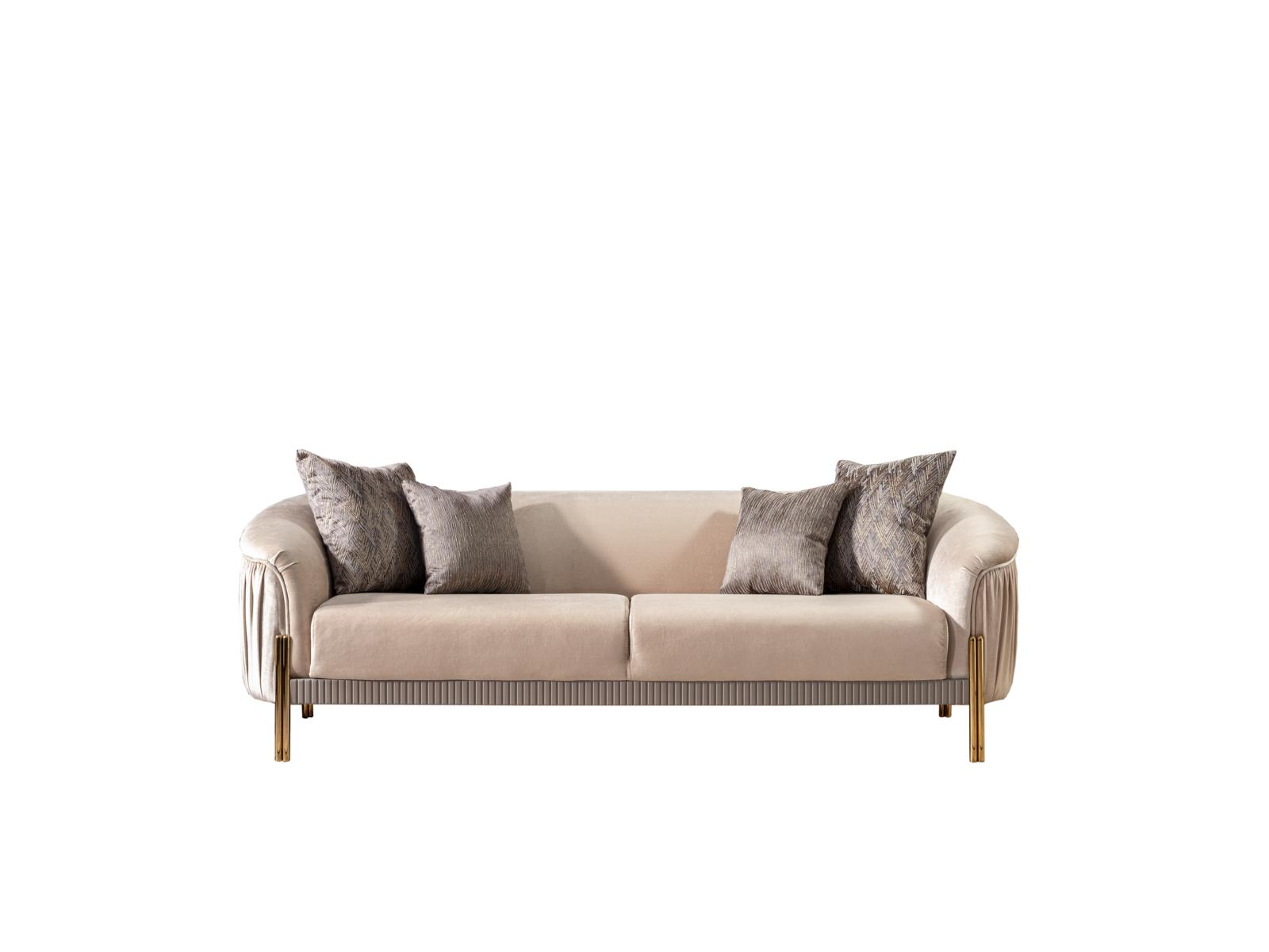 Weltew Couch Florya Beige 3-Sitzer mit Schlaffunktion