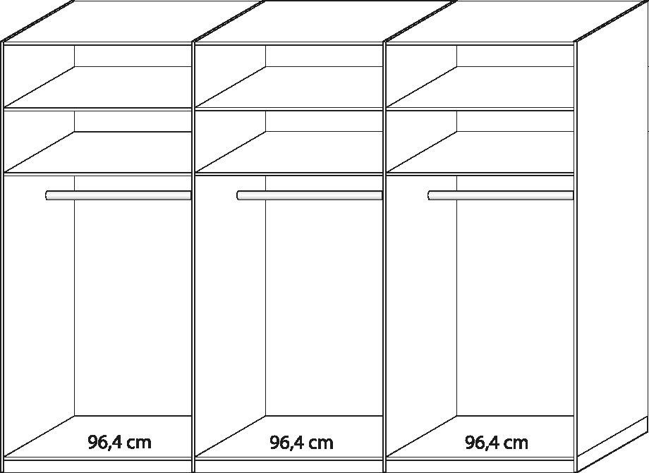 Kleiderschrank Delina in Trüffeleiche 300 cm mit Spiegeltüren