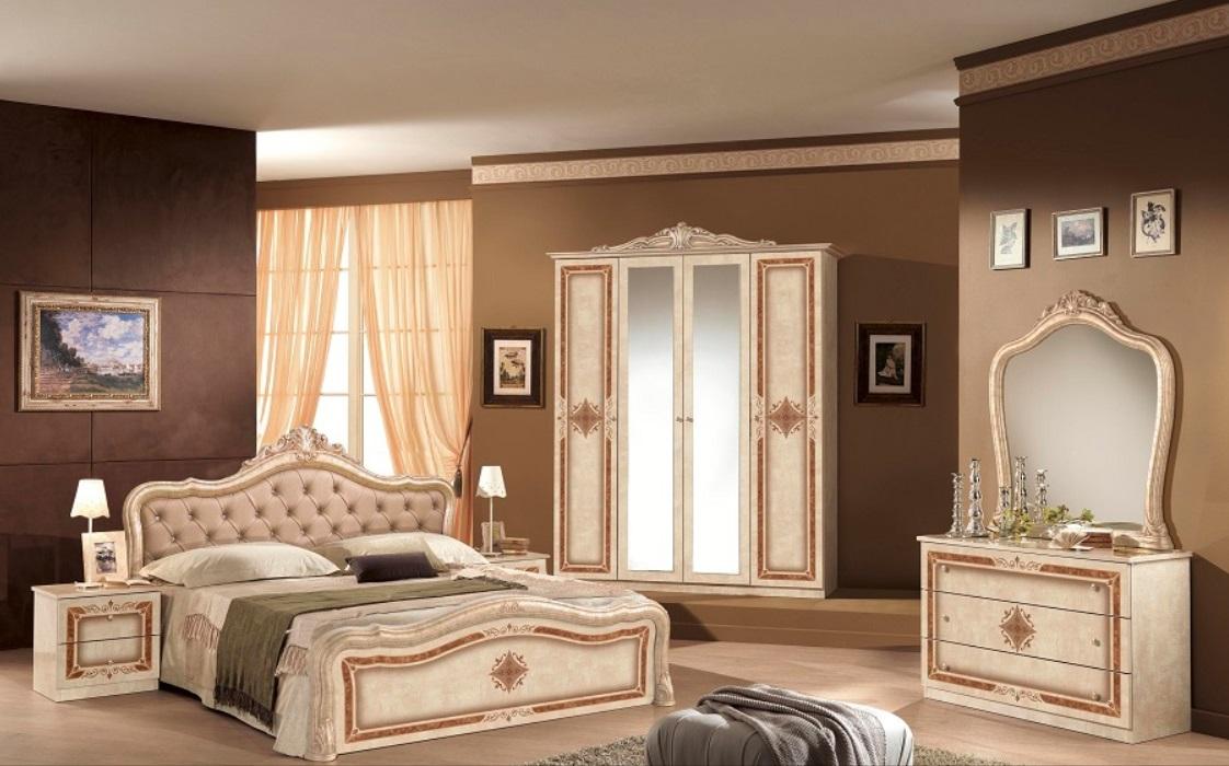 Schlafzimmer Set Christina Beige mit 4-türigem Schrank