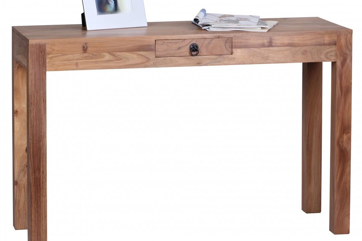 Akazie Konsolentisch Massiv 120 cm mit 1 Schublade -  Massivholz