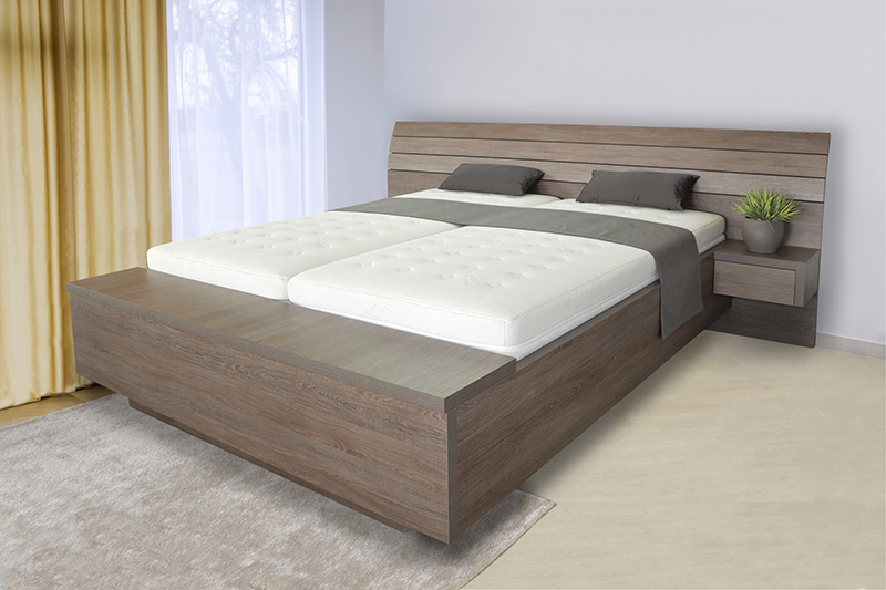 Schwebendes Bett Rielle B 80x190 Eiche Weiß Links