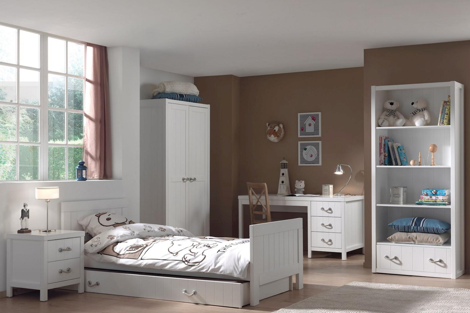 Mädchenzimmer komplett Set Iny 6-teilig in Weiß MDF