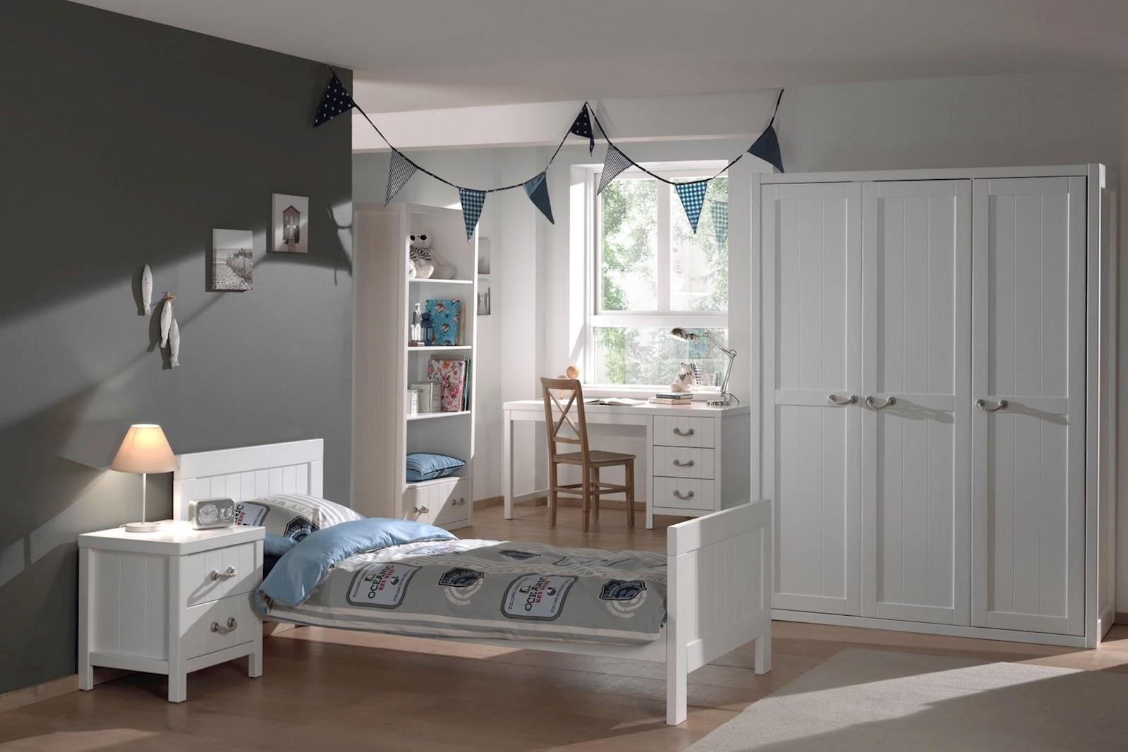 Jugendzimmer komplett Set Iny 5-teilig in Weiß MDF
