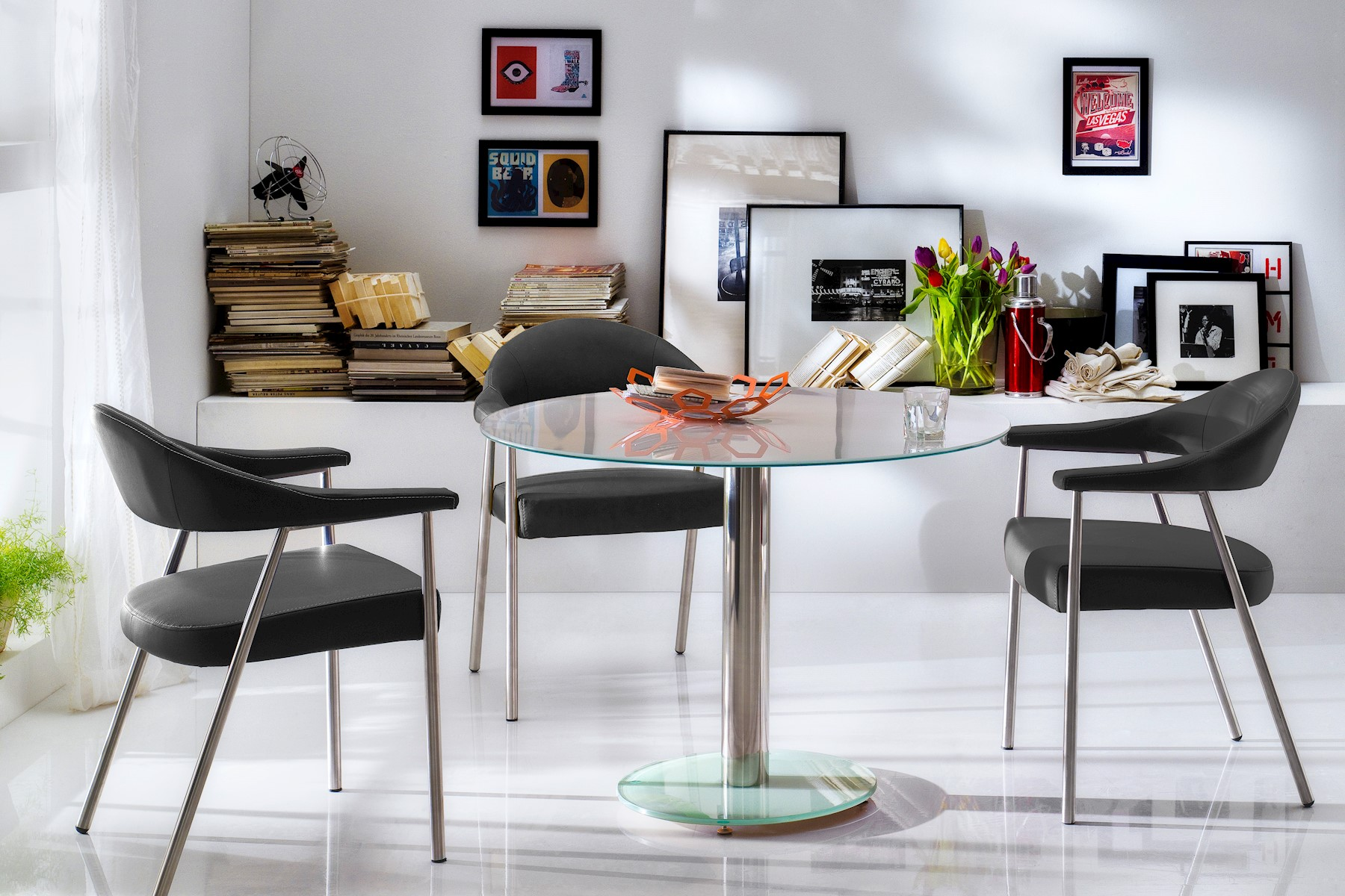 Falke Esstisch mit Sicherheitsglas Weiß