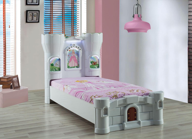 Burg Kinderbett Rozy in Weiß mit LED Beleuchtung
