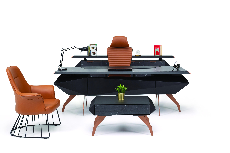 Ovali Schreibtisch Set 3-teilig Falcon Schwarz Bronze