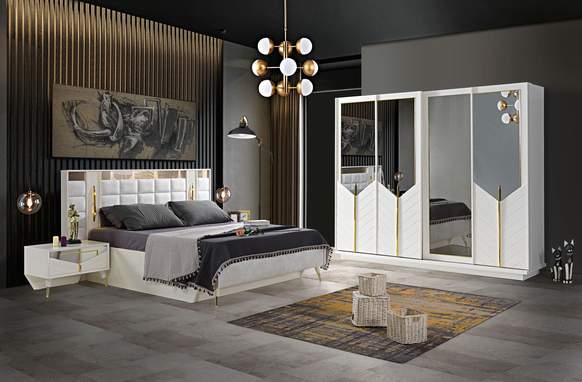 Lidya Schlafzimmer Set Piramit mit Bett in 180x200 cm