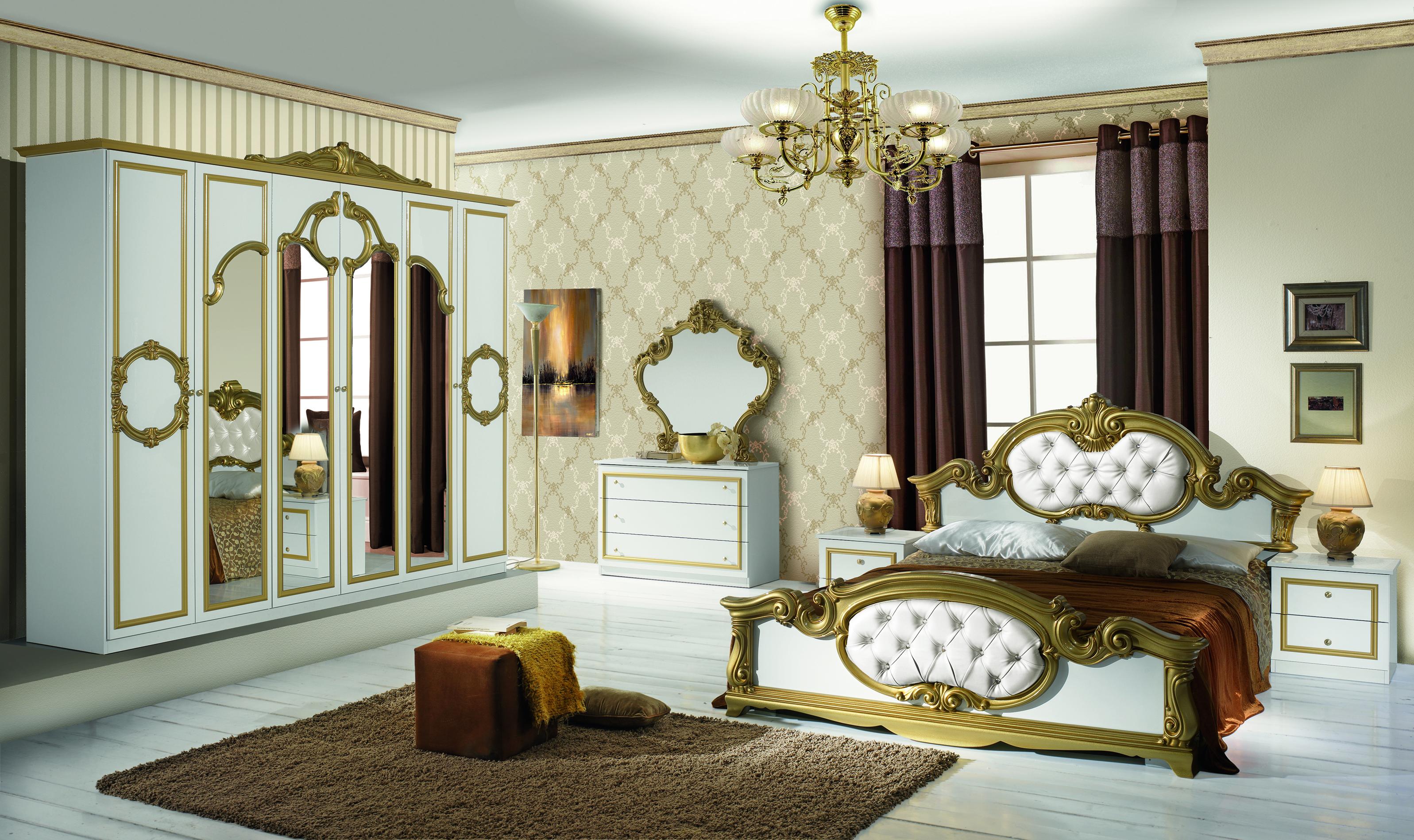 Schlafzimmer Set Weiß Bartek mit 4-türigem Schrank