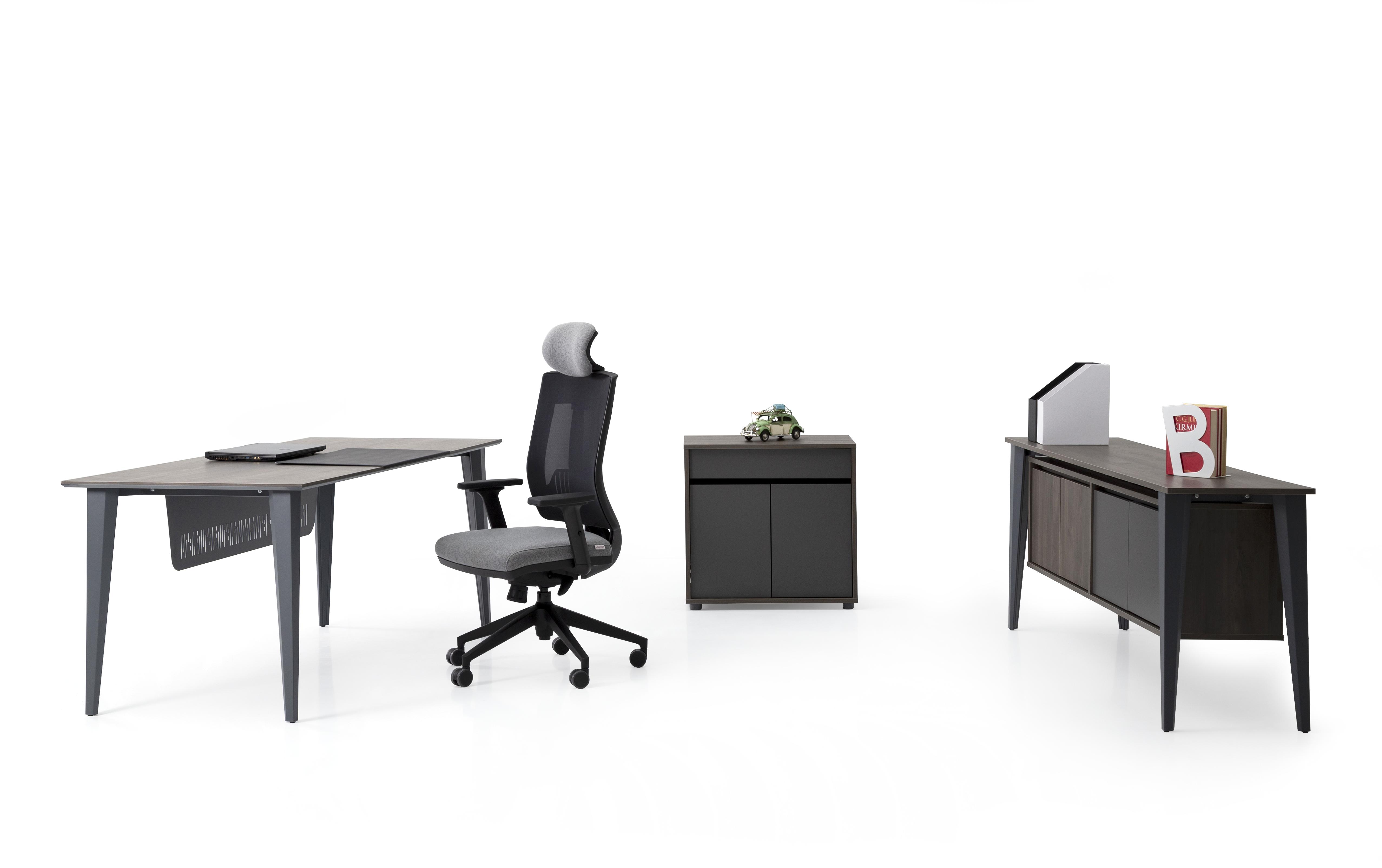 Ovali Schreibtisch Set 3-teilig Iconlux Grau 180x80 cm