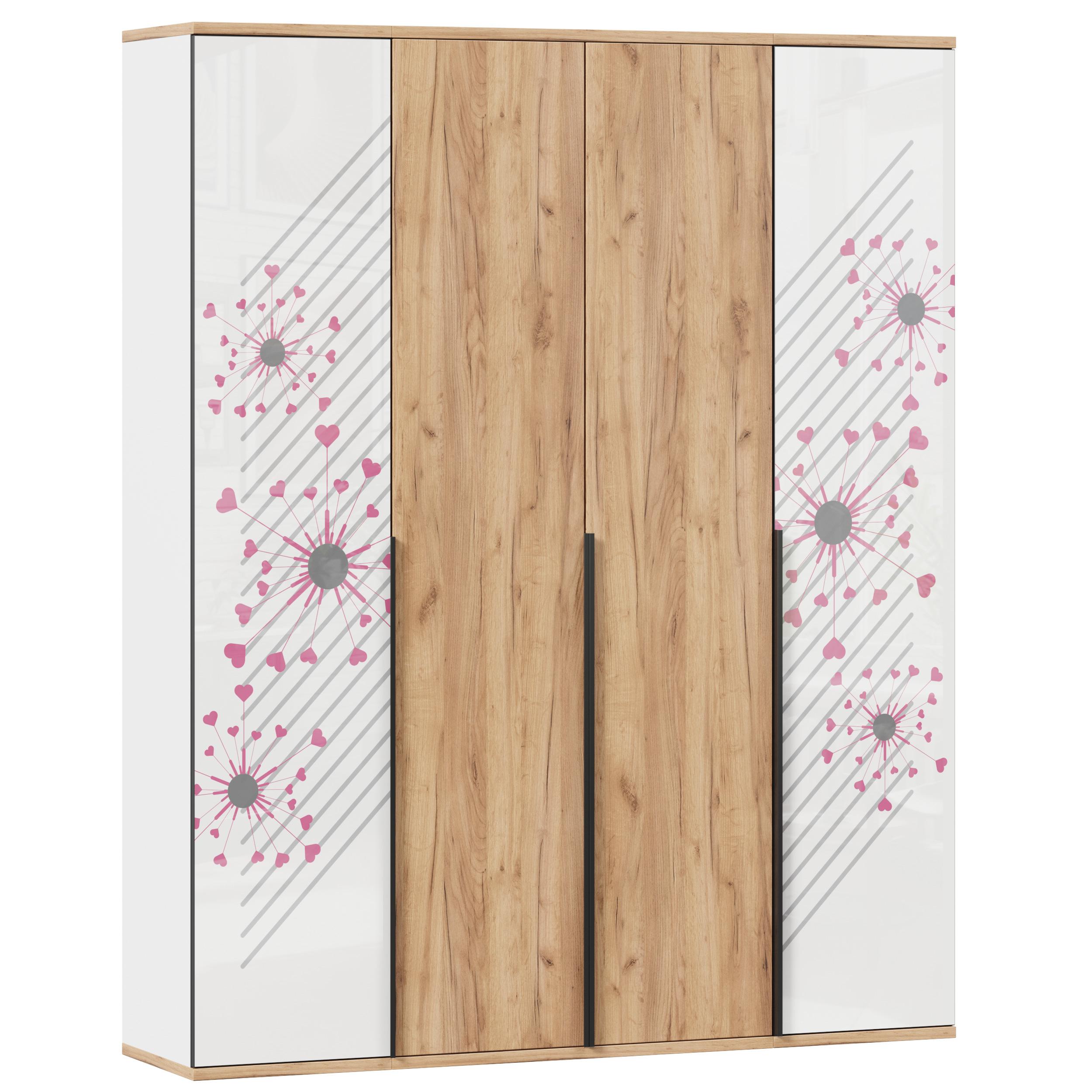 Lubidom 4-türiger Kleiderschrank Urban in Pink & Oak