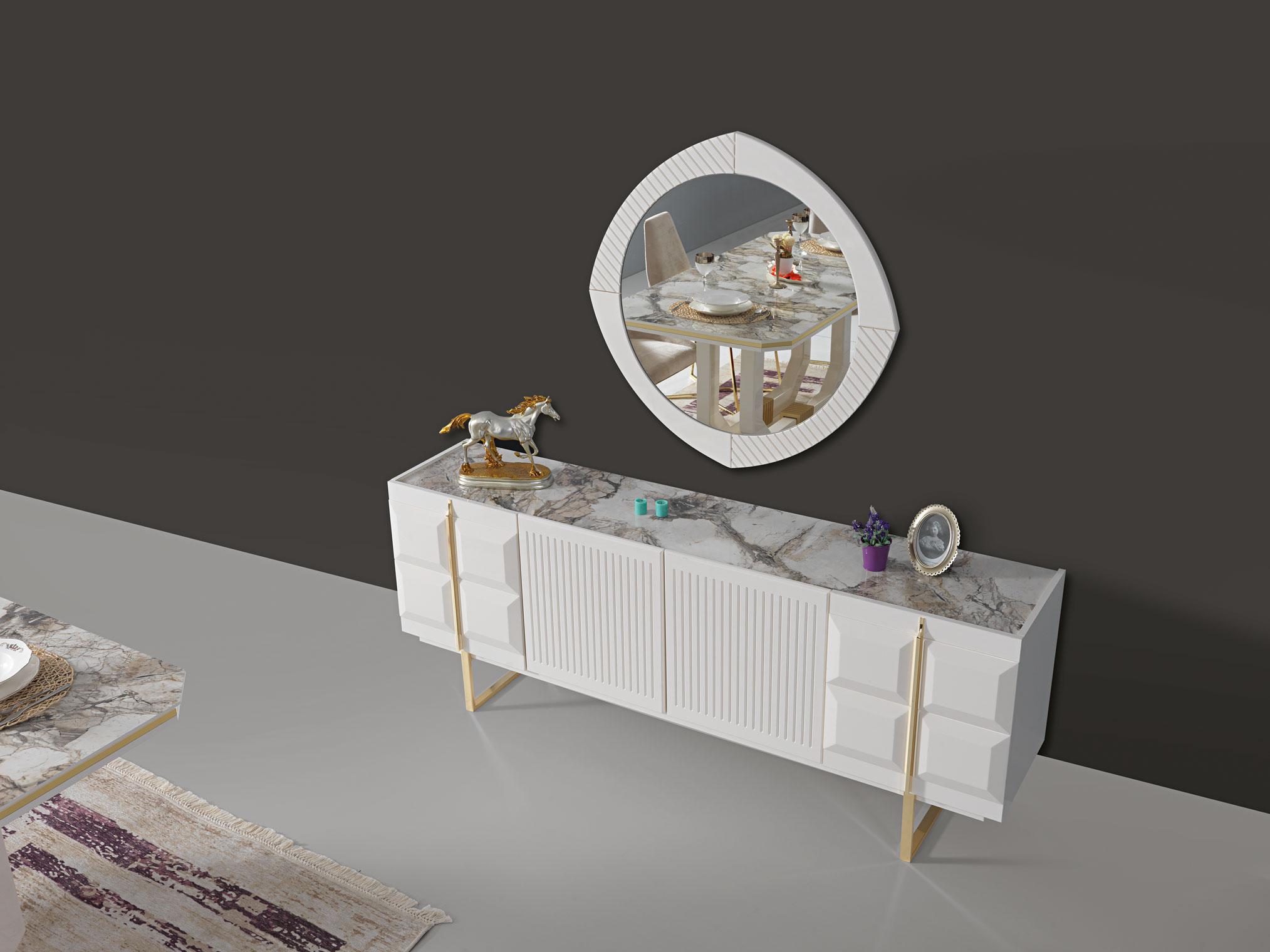 Lidya Sideboard Pianno mit Spiegel & Türen in Weiß
