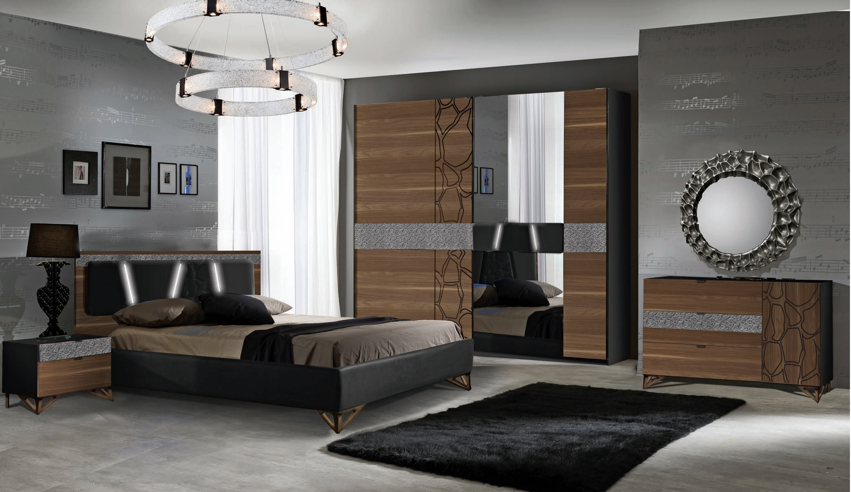 Schlafzimmer Set Mercury Walnuss/Schwarz 160x200
