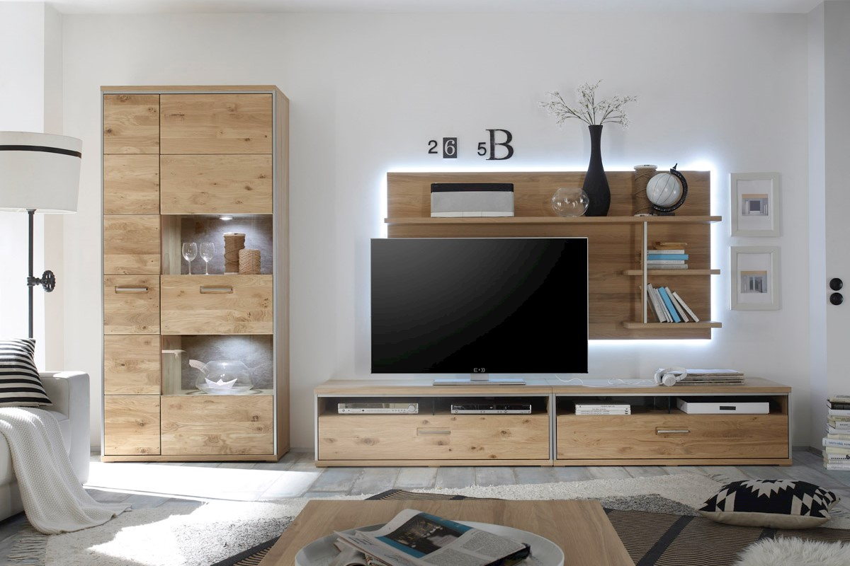 TV- Wandpaneel Meja in Ast-Eiche Bianco massiv