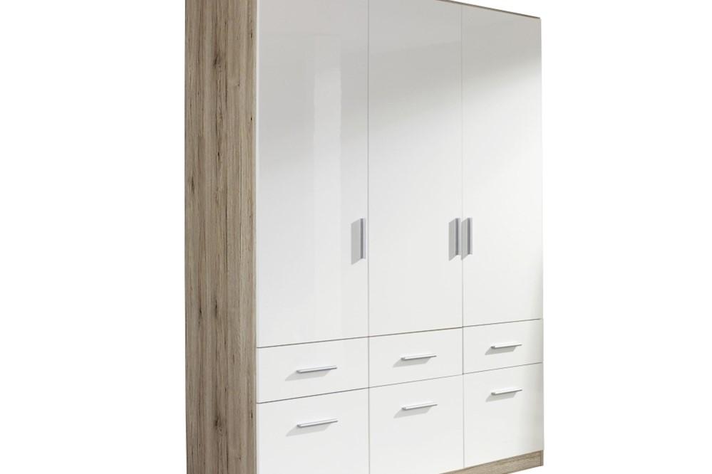 Drehtür-Kombischrank CELLE weiß / Eiche Sanremo 136 x 210 x 54 cm