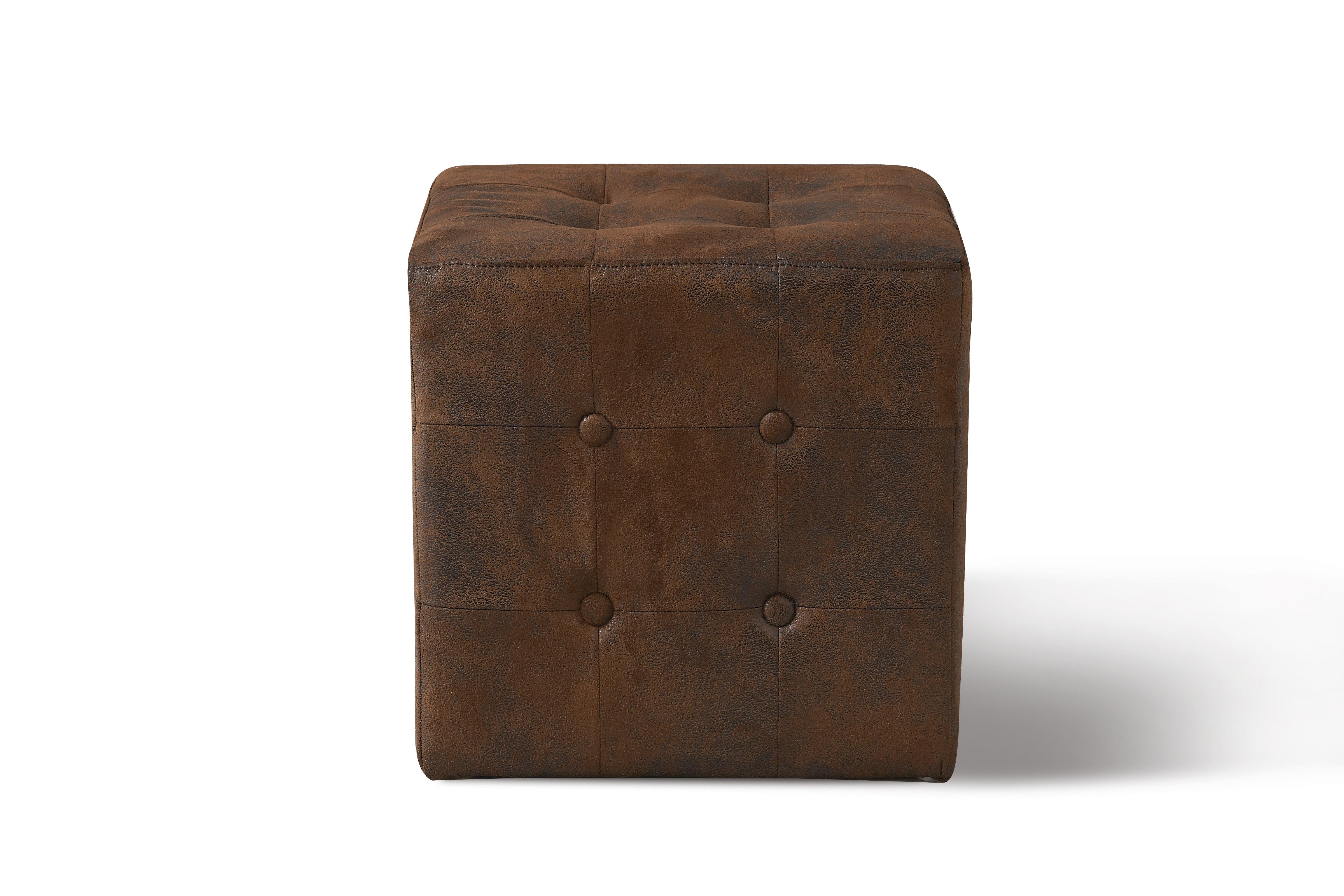 Sitzwürfel Minor mit Holzgestell und Samtbezug