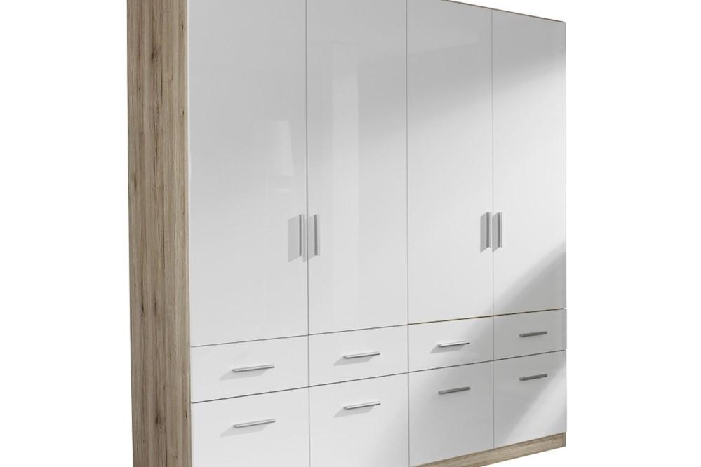 Drehtür-Kombischrank CELLE weiß / Eiche Sanremo 181 x 210 x 54 cm