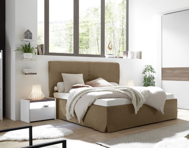 Bett Kunstleder Braun Full Luana 180x200