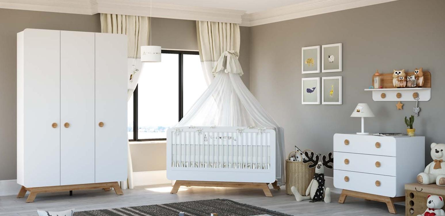 Almila Kleiderschrank Baby Cute 3-türig mit LEDs