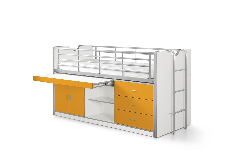 Bonny Hochbett mit Stauraum 90x200 in Orange