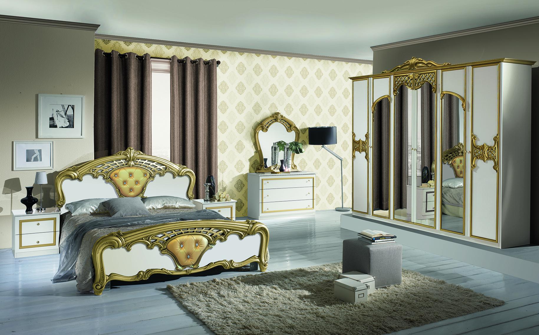 Schlafzimmer Set Eva Weiß 160x200 6-türiger Schrank