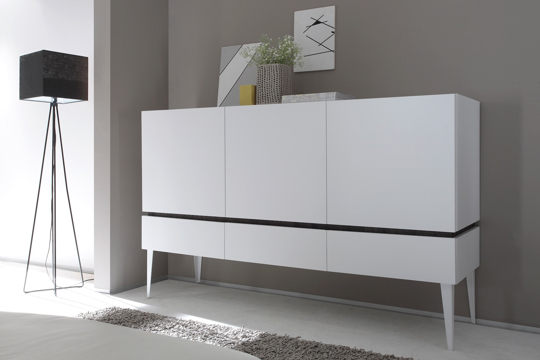Sideboard Bloom 3-türig in Weiß