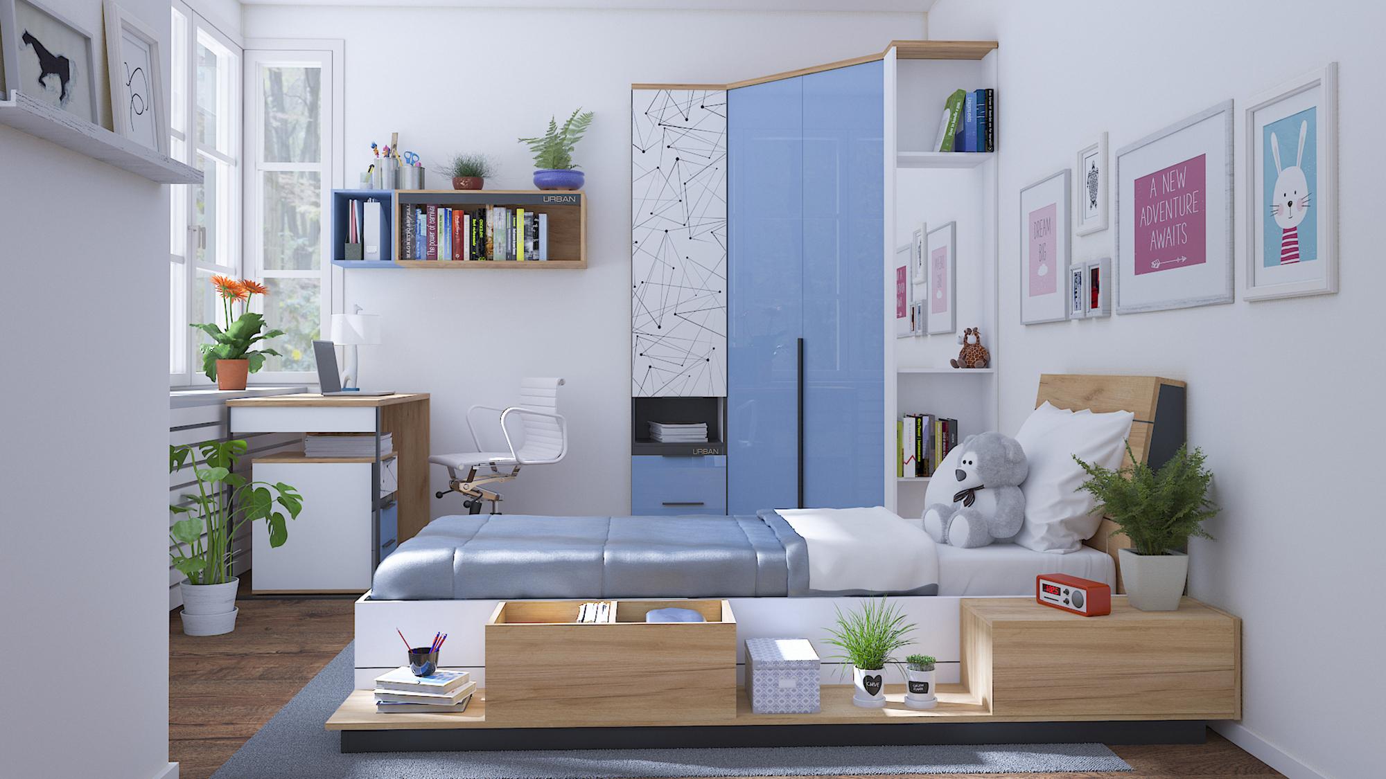 Lubidom Jugendzimmer Urban mit Bett in 90x200 cm
