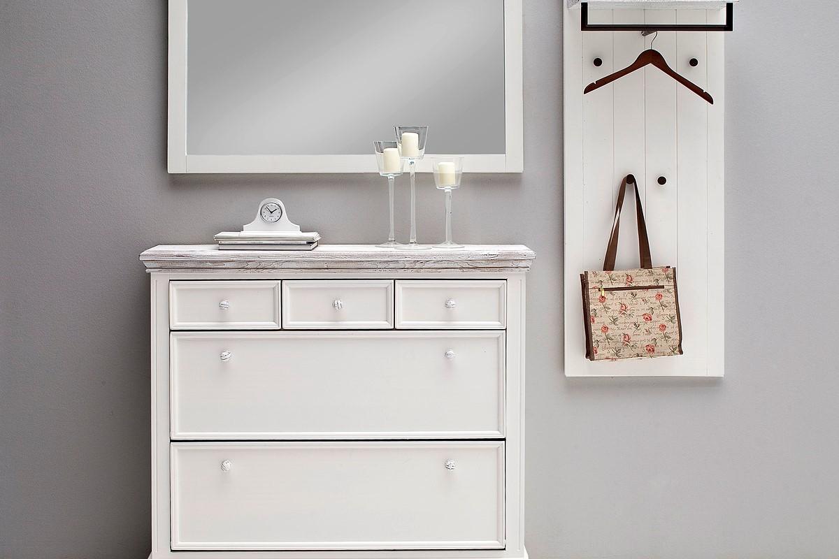 Wandspiegel Olio Horizontal in Kiefer Weiß massiv